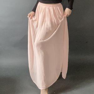 Flowy Pleated Pastel Light Pink Maxi Skirt